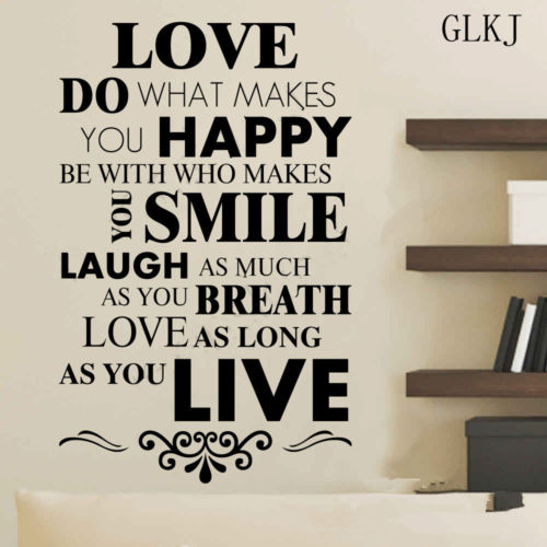 Motto Happy Live Laugh Love Smile Quote Poem Wall Art Vinyl Decal Stunning Smile Laugh Love Quotes