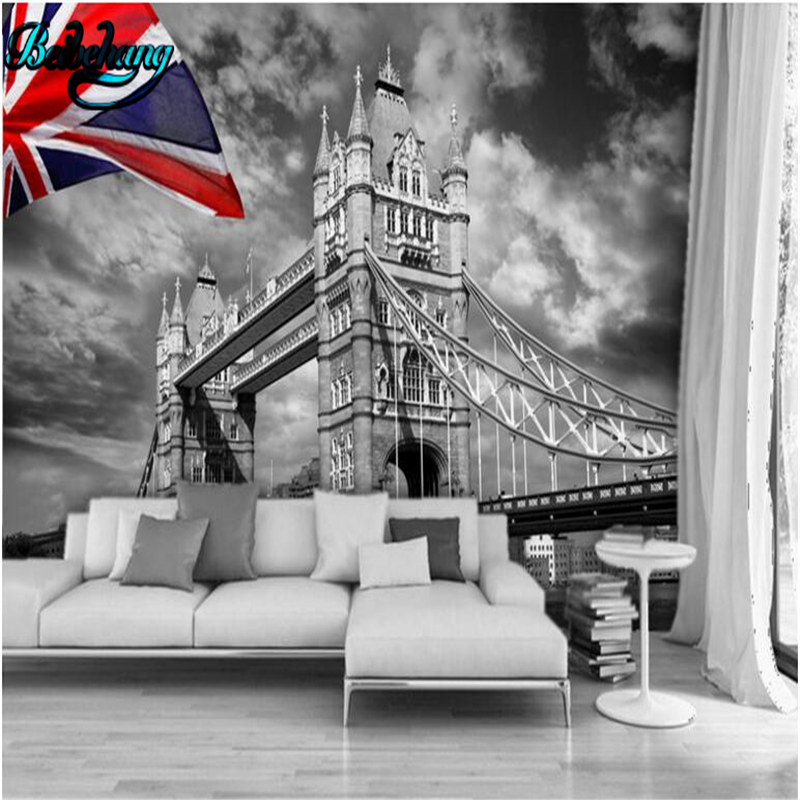 Beibehang london twin towers black and white art tv wall for Black and white london mural wallpaper