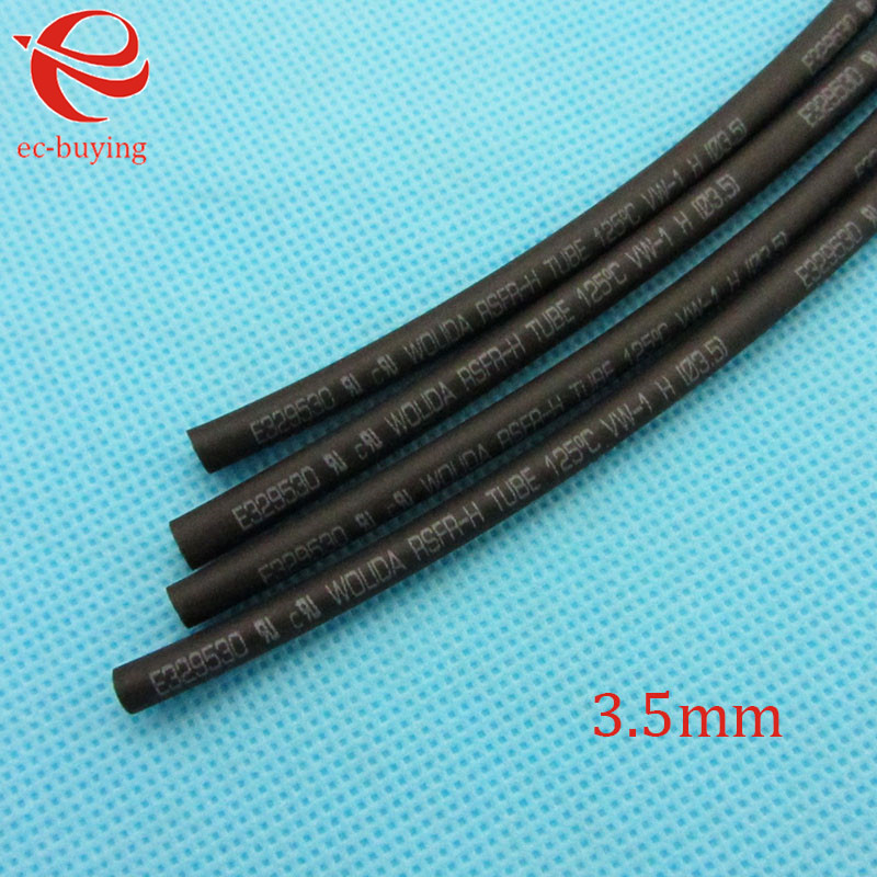 Heat Shrink Tube Black Tube Heat-Shrink Tubing Diameter 3.5mm Thermo Jacket Wire Wrap Insulation Materials Elements 1meter /lot