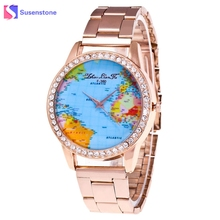 Buy watch gold world and get free shipping on aliexpress fashion world map rhinestone stainless steel band wrist watch gift rose gold quartz watch women ladies sciox Choice Image