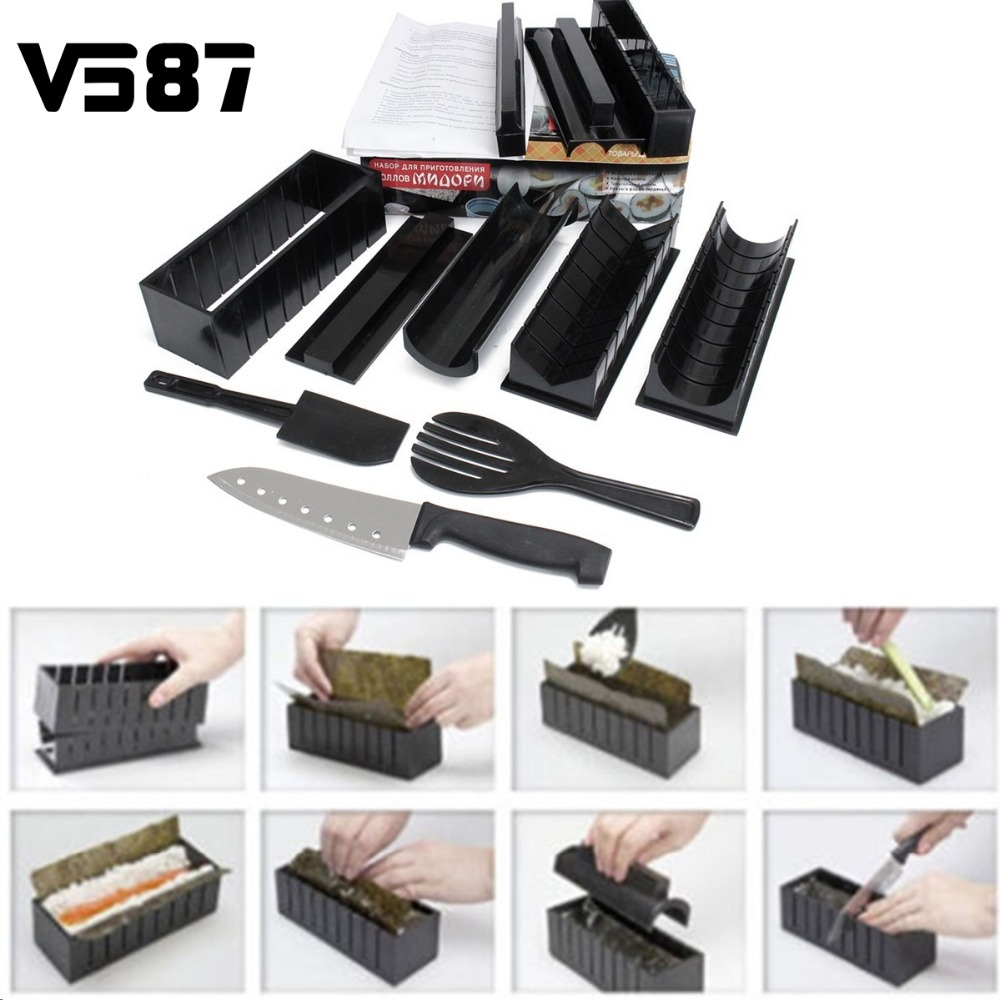 12Pcs Sushi Maker Kit Rice Roll Mold Rice Ball Moulds Household Kitchen DIY Roller Cutter Cuisine Making Helper Kitchenware