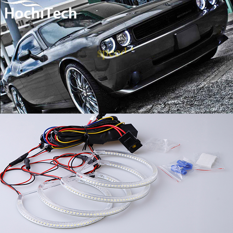 ФОТО Excellent SMD 5050 LED white headlight halo angel demon eyes kit for Dodge challenger 2008 2009 2010 2011 2012 2013 2014