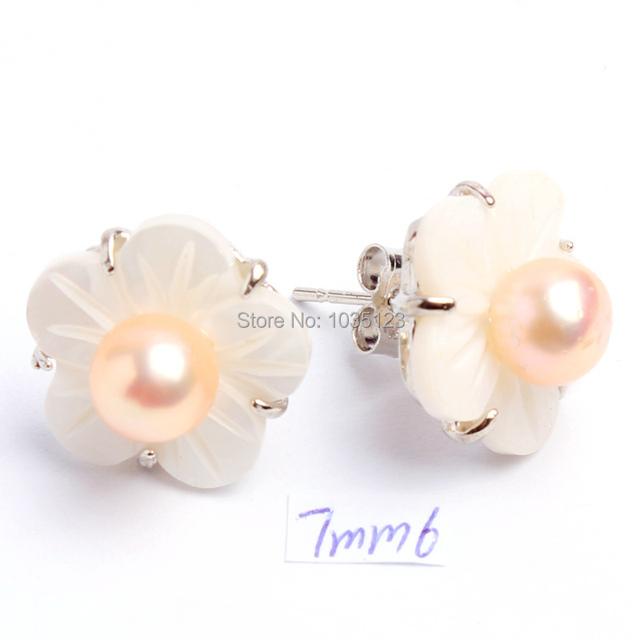 Free Shipping 7mm Natural Pink Color Freshwater Pearls Flower White Shell  Sterling Silver Fashion Earrings 1 718c6522cb59
