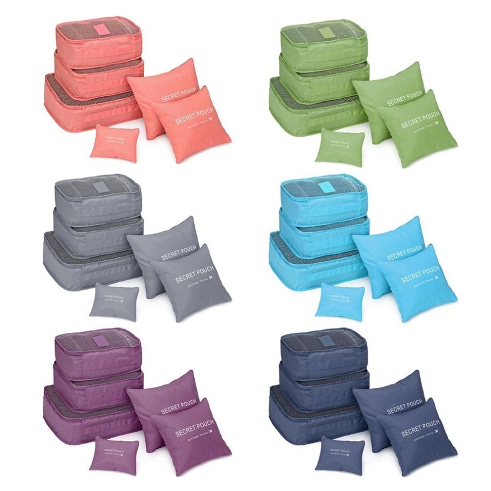 6 Pcs/set Oxford Travel Bag Packing Cubes Set Organizer Luggage Bag Large Capacity Travel Bags Handbags Clothing Sorting 50pcs