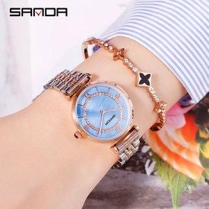 Image 5 - 2019 Yeni Sanda Izle kadın Su Geçirmez Gül Altın Çelik Moda Trendi kadın Izle Kore Marka quartz saat
