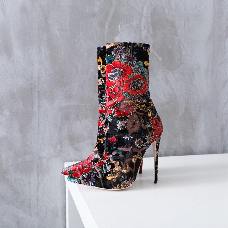 Talon Floral Femmes Bout Bottines Chaussures Multi Fleur Femme Bottes As Cheville Haut Glissement Stiletto Tissu Pic Printemps Sexy Sur Partie Pointu qwCEPn7