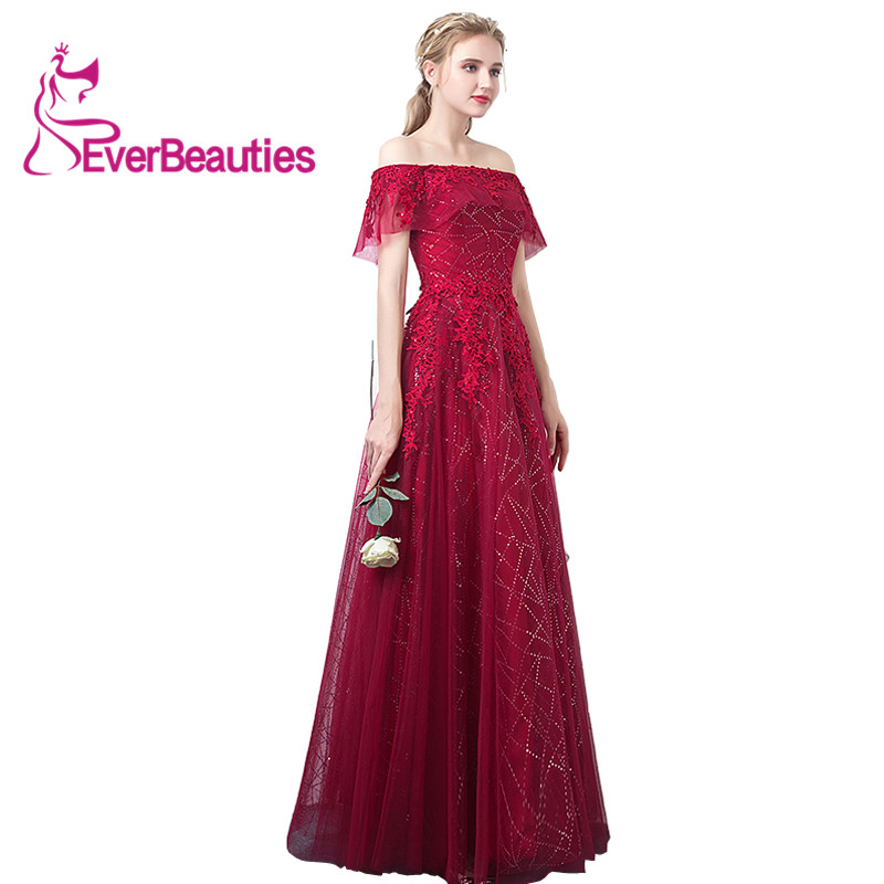 Evening font b Dresses b font Long Boat Neck Lace Tulle Applique Red A Line 2018