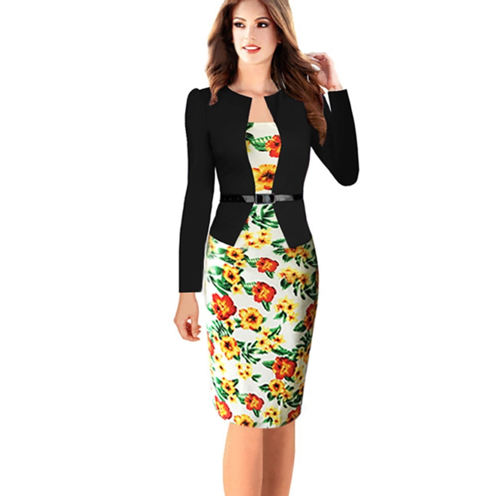 US $15.59 40% OFF Oxiuly Plus Size S 4XL Women Spring Fall Long Sleeve  Slimming Wear To Work Casual Knee Length Dress with belt-in Dresses from ...