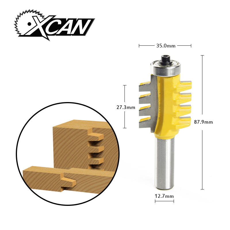 XCAN  1/2Shank Rail Reversible Finger Joint Glue Router Bit  Tenon Woodwork Cutter Power Tools  milling cutter 2 pcs 1 2t type shank 3teeth tenon cutter 4mm reversible glue bits of high quality dovetail router bits box joint router bit