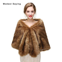 Luxury Brown Faux Fur Wedding Shawls 2017 Imitation Fox fur Bridal Wraps Warm Bolero for Winter Occasion Wedding Accessories