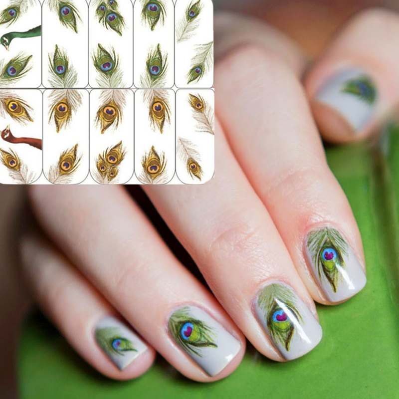 1 sheet Fantastic Feather Nail Art Water Decals Transfer Stickers Nail Art Sticker #15557
