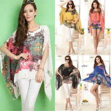 NEW FASHION WOMEN LADY LOOSE CHIFFON FLORAL PRINT KAFTAN PONCHO BLOUSE TOPS calico print poncho blouse