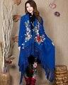 Новое Прибытие зима Весна вышитые китай народном стиле с длинными рукавами женская большой размер пальто платок