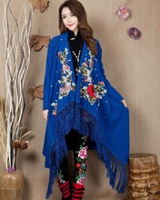 New Arrival winter Spring embroidered china folk style  long sleeved women's big size coat shawl