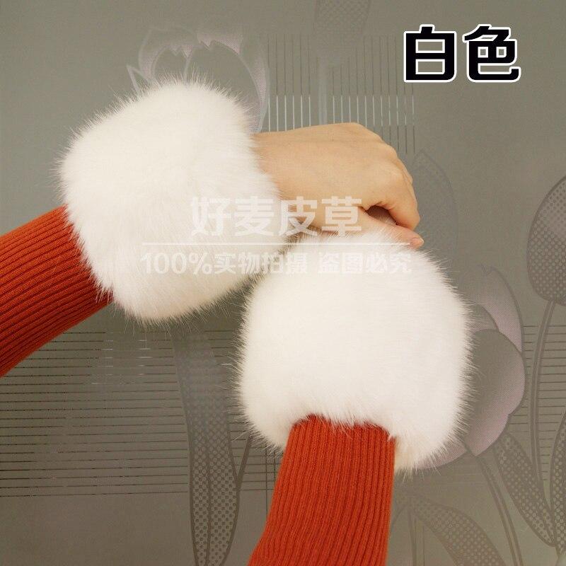 1 Pairs Faux Rabbit Fur Elastic Oversleeve Cuff Winter Warm Arm Cuffs Women's Fashion Autumn Wrist Gloves Sleeve Cuff Cover