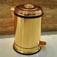 Золотая педаль металлическая мусорная корзина высококлассные отель Вилла Кухня Гостиная Ванная комната покрыта ведро для мусора ZP5161020