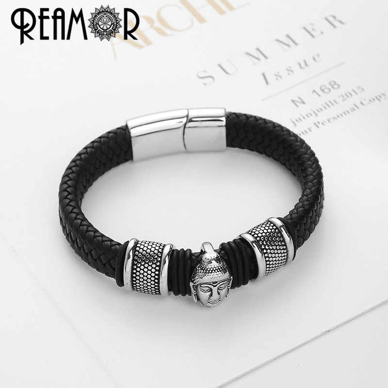 dda2545988ebb REAMOR 316L Stainless Steel Men Leather Bracelets Thailand Buddhist  Bracelet Braided Leather Trendy Male Jewelry Cuff Bangles