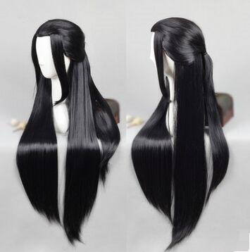 Negro pelo largo peluca peluca china antigua dinastía antiguo chino de la vendimia antigua chino cosplay espadachín cosplay pelo inmortal