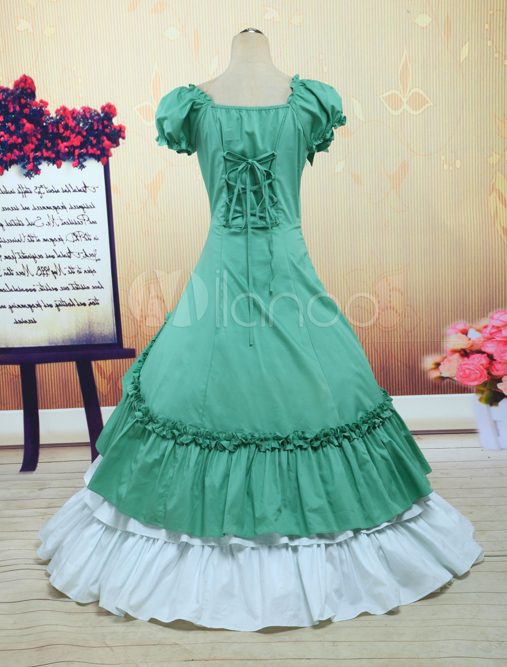 Navy Green And White Cotton Bow Classic Lolita Dress-in Lolita ...