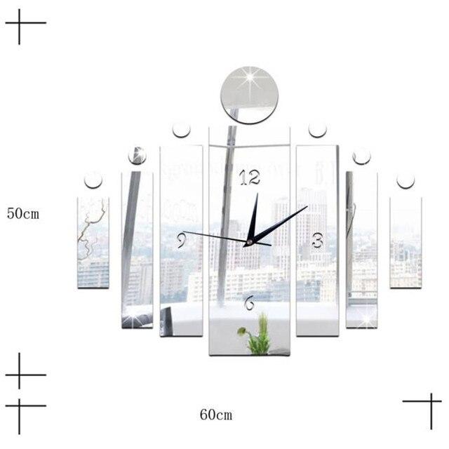 luxus 3d spiegel silber wanduhr modern design home decor uhr wand aufkleber 30 poster 2017