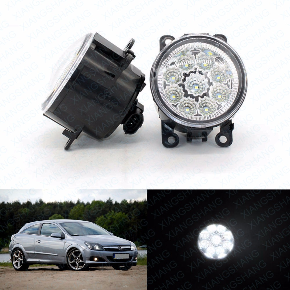 Car Styling Round Front Bumper LED Fog Lights DRL Daytime Running For OPEL ASTRA H GTC 2005-2015  Automative lighting led front fog lights for opel corsa d 2006 2013 2014 2015 car styling round bumper drl daytime running driving fog lamps