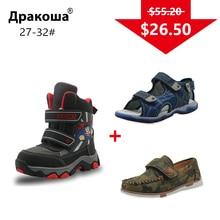 APAKOWA 3 Pairs Erkek Ayakkabı Çocuklar Kış Kar Botları rahat ayakkabılar Yaz Sandalet Renk Rastgele Gönderilen Bir Paket için AB BOYUTU 27 32