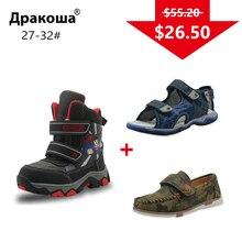APAKOWA/3 пары обуви для мальчиков, детские зимние ботинки, повседневная обувь, летние сандалии, цвета, отправка одной упаковки, европейские размеры 27 32