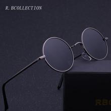 R.BCOLLECTION Steampunk Round Sunglasses Men Women Anti-UV Polarized Metal Frame Retro Sun Glasses Mirror gafas de sol 801