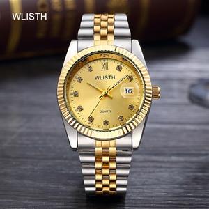 Image 2 - Wlisth 여성 시계 여성 시계 패션 숙녀 톱 브랜드 럭셔리 손목 시계 여성 골든 실버 스틸 방수 빛나는