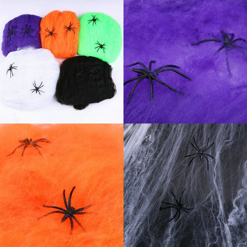 aliexpresscom buy 1 pcs 5 colors novetly stretchable spider web halloween cobwebs halloween decoration party prop from reliable props party suppliers on - Spider Web Decoration