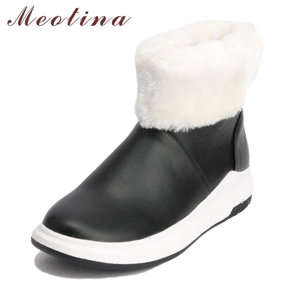 Meotina Women Snow Boots Winter Shoes Round Toe Platform Flat Boots Warm Plush Short Boots Ladies Fur Shoes Red White Size 42 43 best selling top quality women hidden wedge winter warm snow boots plush inside platform round toe motorcycle boots shoes