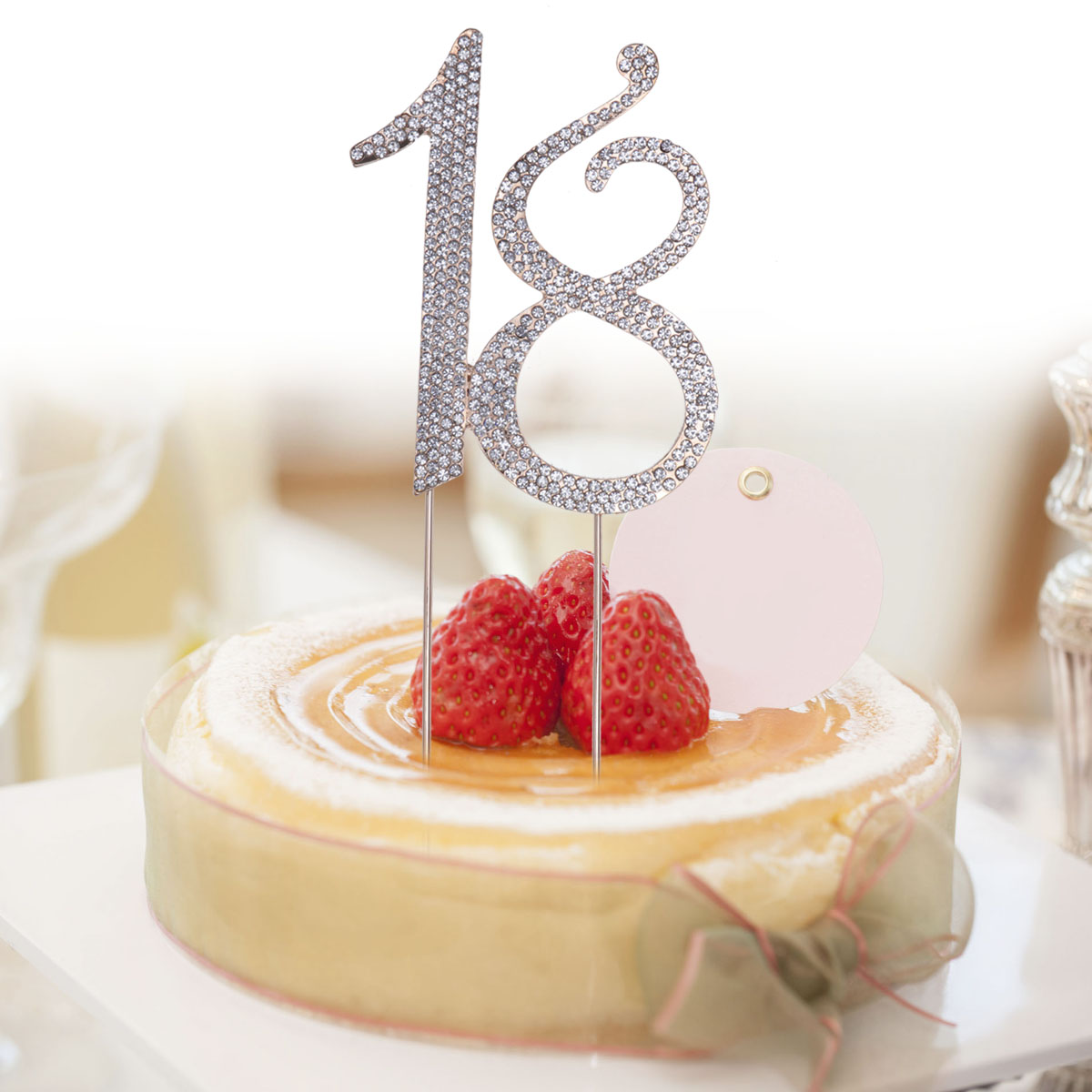 Age 18 Crystal Rhinestone Numbers Anniversary Birthday Party Cake Topper 18