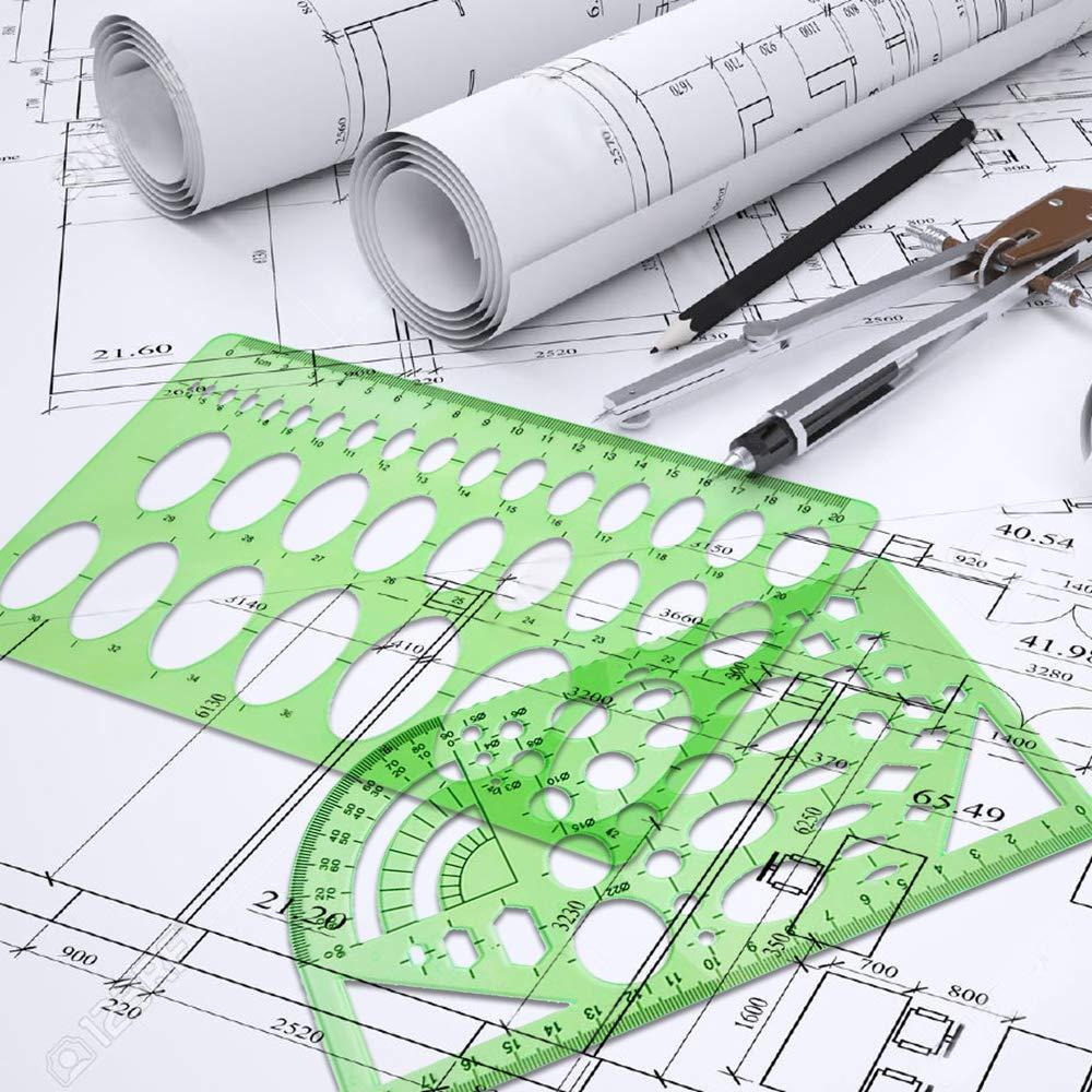 6 шт./9 шт. набор опалубка линейка измерения геометрические трафареты здание школы ясно рисунок для офиса пластик шаблон