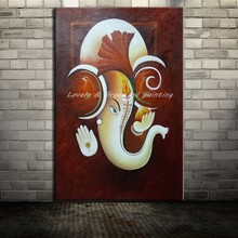 Hand Painted Canvas Painting Arts Poster Hand Made Indian Elephant Animal Oil Paintings Wall Pictures For Living Room Home Decor(China)