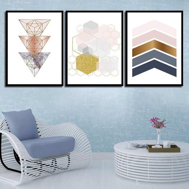 Us 1 94 40 Off Modern Nordic Style Hd Art Print Poster Abstract Geometric Shape Triangles Canvas Painting Wall Picture Living Room Decoration In