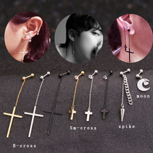 Sellsets 1 Piece Unique Style long chain steel cross spike moon ball barbell tragus rook helix daith piercing jewelry(China)