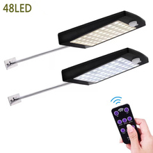 New solar remote infrared control dimming street light pir motion sensor 48LED garden outdoor waterproof wall lamp