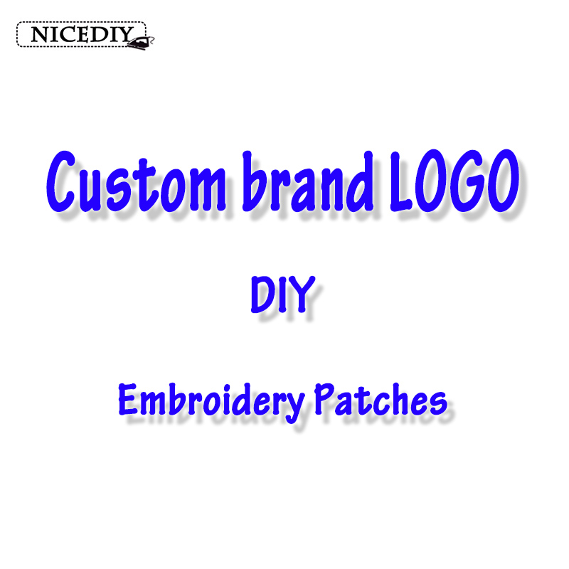 Nicediy Custom Brand Logo Patch DIY Embroidered Patches Iron On Patches For Clothing Stickers Stripes For Shoes T-shirt Applique