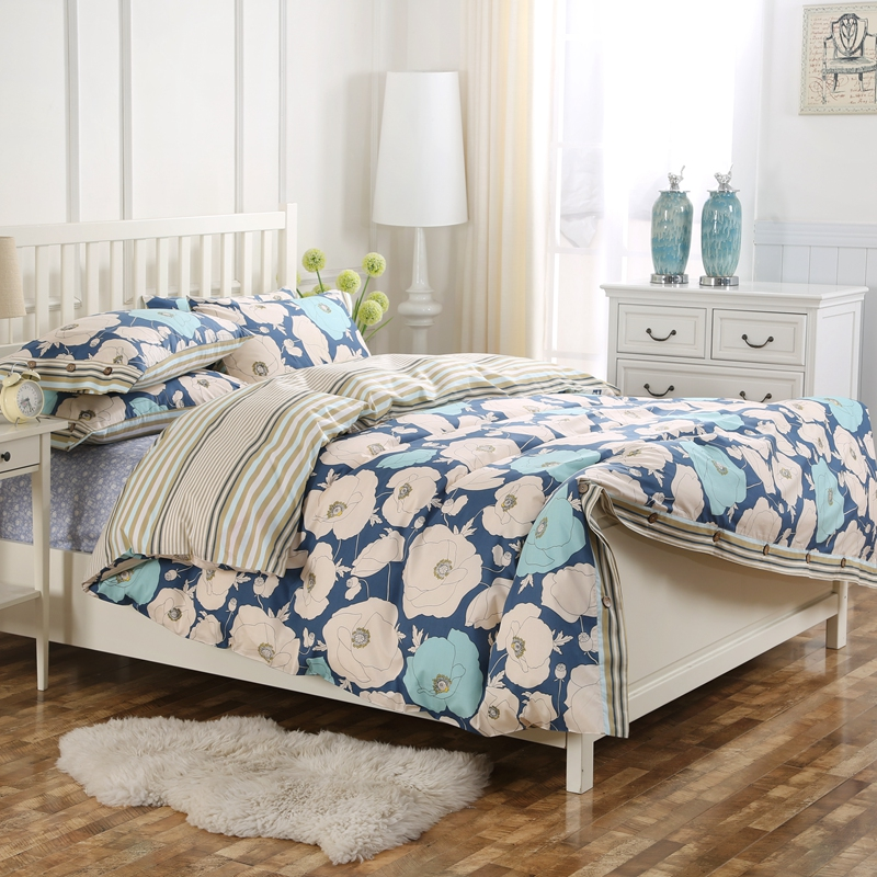 100 cotton floral printed king queen navy stripe coconut button duvet cover set with 1 duvet. Black Bedroom Furniture Sets. Home Design Ideas