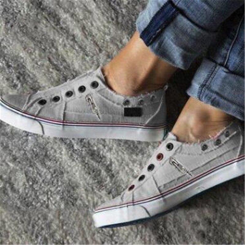2019 Fashion Women Sneakers Denim Casual Shoes Female Summer Canvas Shoes Trainers Ladies single shoes Tenis Feminino 4