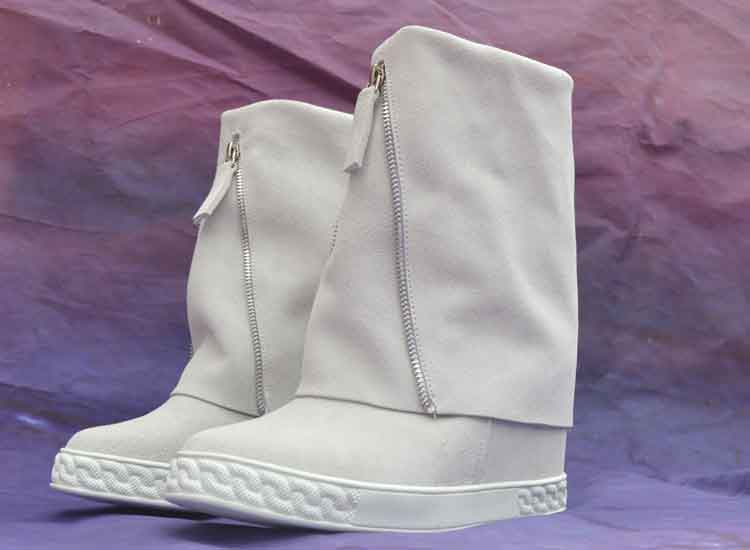 Zapatos Marca Blanco Negro Cuero Plataforma Genuino Alto Señora White Mujer Cuña Casuales Altura Botas Tacón De Lujo Aumento qRg6wwO