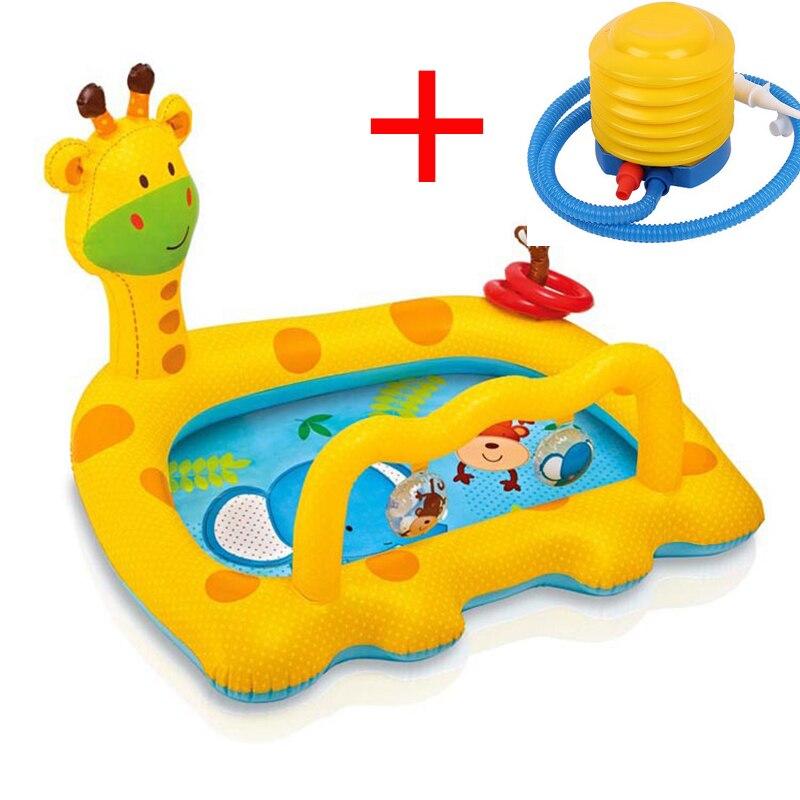Bébé piscine flotte nager siège anneau flotteur baignoire en plastique lit gonflable enfants piscines pour enfants bambin jeux dessin animé girafe