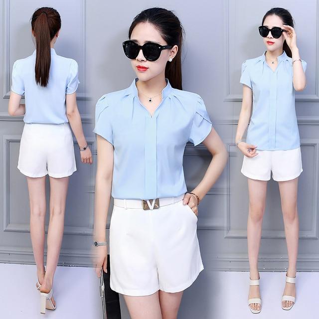 Korean Fashion Womens Tops and Blouses Chiffon Women Blouses Short Sleeve White Shirts Plus Size XXL Ladies Tops 4