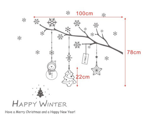 HAPPY WINTER Christmas Removable Home Vinyl Window Wall Stickers Decal decor 78X100CM