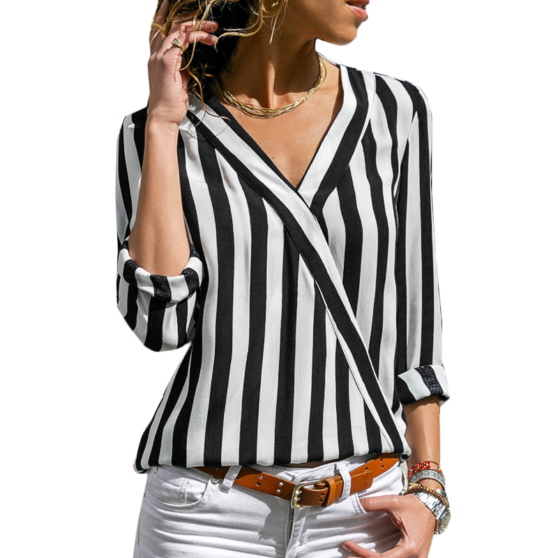 Rogi Women Striped Blouse Sexy V-Neck Long Sleeve Chiffon Blouses Shirts Office Lady Work Wear Casual Shirt Tunic Tops Blusas Блузка