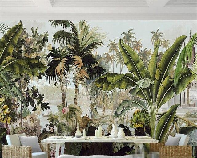 Carta Da Parati Foresta Tropicale : Beibehang foresta pluviale tropicale pianta pittura a olio sfondo