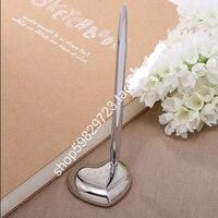 Freies Verschiffen Personalisierte Legierung Herz Design Pen-Set Für Hochzeit