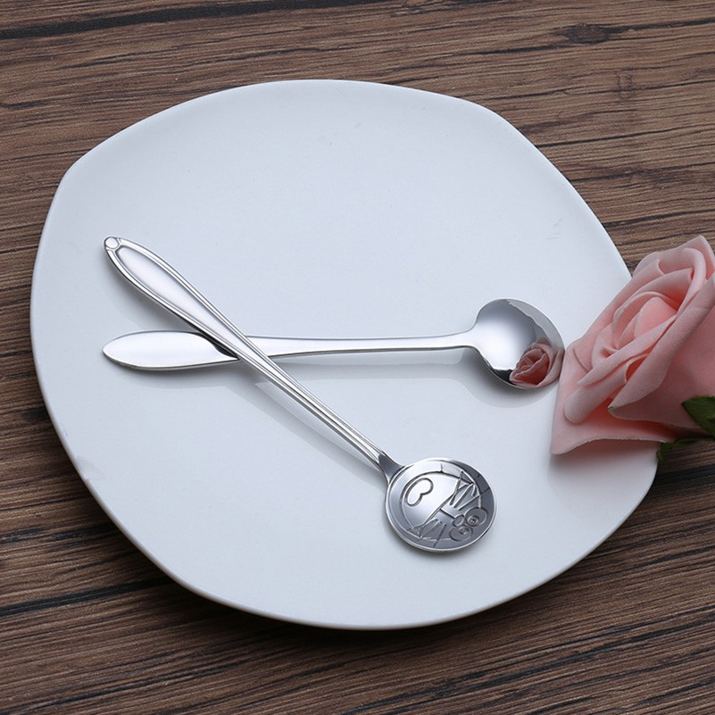 Stainless Steel Cartoon Spoons Cute Children Kids Dinnerware Baby Spoon Tableware HHY