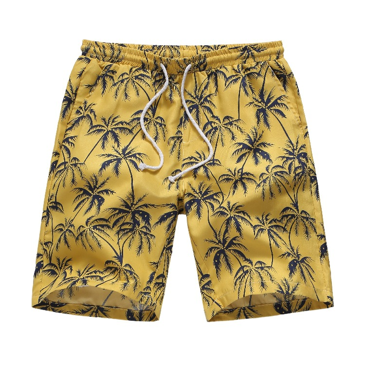 Hawaiian Ahola Men Beach   Shorts   Drawstring Closure Palm Tree Yellow