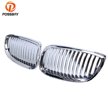 POSSBAY Auto Grills Car Front Kidney Grille Chrome Silver Grilles for BMW 3-Series E93 325i/328i Cabrio 2007-2010 Pre-facelift